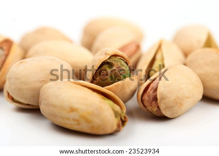 Group of pistachio nuts  close up