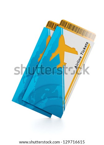 Group of plane tickets on a white background - stock photo
