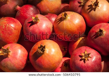 Group of pomegranates. Pomegranate  background.