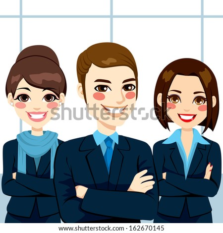 Group of positive confident business man and women team standing with arms crossed - stock photo