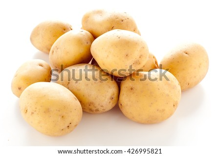 group of potatoes on white background,italy - stock photo