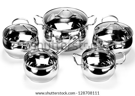 Group of pots isolated on white background. Black and white photo.