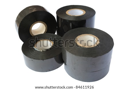 Group of Premium Thermal Transfer Ribbon (TTR) isolated on white background