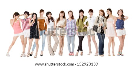 Group of pretty asian women. Isolated on white background. - stock photo