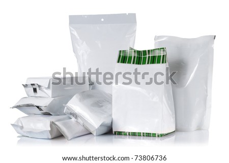 group of product pack. isolated over white background - stock photo