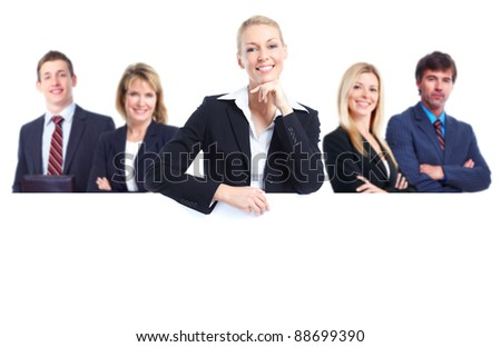 Group of professional business people with banner. Isolated over white background. - stock photo