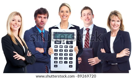 Group of professional business people with calculator. Isolated over white background.