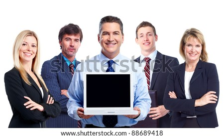 Group of professional business people with laptop computer. Isolated over white background.