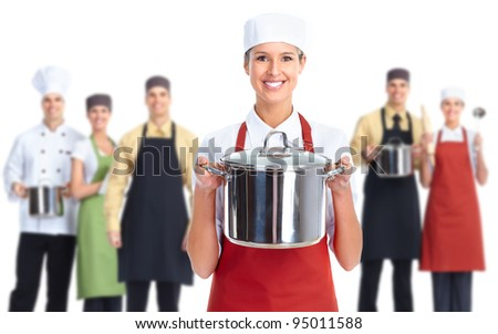 Group of professional chef baker. Isolated over white background. - stock photo