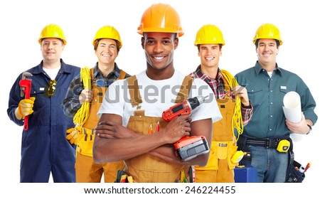 Group of professional construction workersisolated white background - stock photo