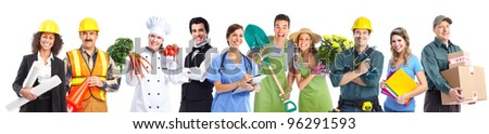 Group of professional industrial workers business people. Isolated over white background. - stock photo