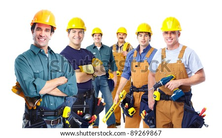 Group of professional industrial workers. Isolated over white background. - stock photo