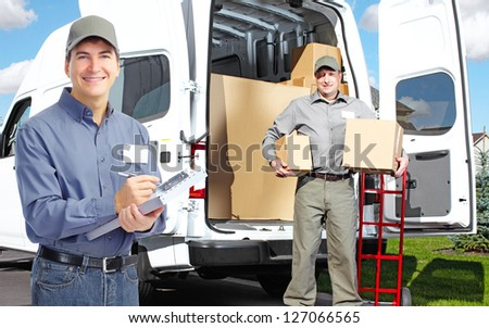 Group of professional post workers. Delivery service. - stock photo