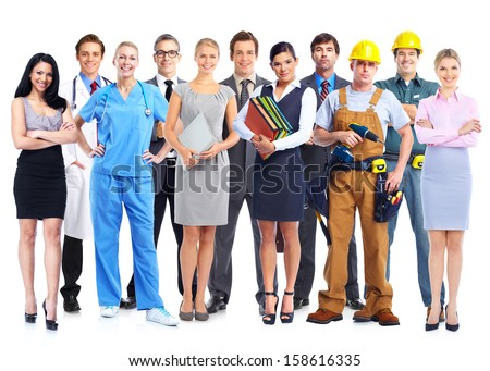 Group of professional workers. Isolated white background. - stock photo
