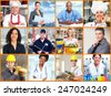 Group of professional Workers people collage background. - stock photo