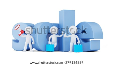 Group of proplr with SALE sign. Isolated on white. Contains clipping path. - stock photo
