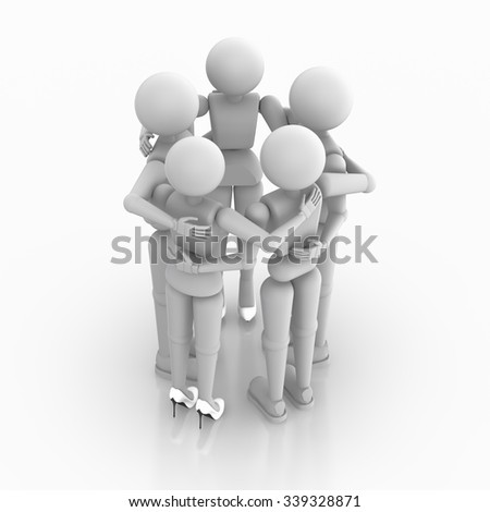 Group of puppet people hugging standing in a circle. Two women and three men person. Render 3D illustration isolated on white background, cutout. Copy space - stock photo