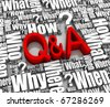 Group of Q&A related 3D words. Part of a series. - stock photo