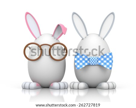 Group of rabbits in the eggs. Illustration for Easter - stock photo