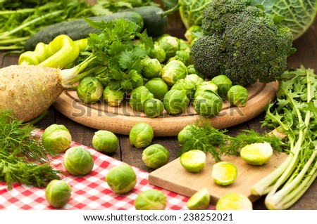 Group of raw fresh assorted green vegetables  - stock photo