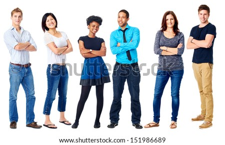 group of real confident people smiling arms crossed isolated on white - stock photo