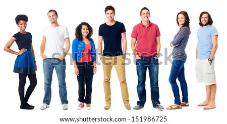 group of real people casual diversity isolated on white background - stock photo