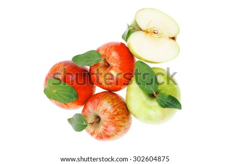 group of red and green fresh ripe apples with half isolated over white background - stock photo