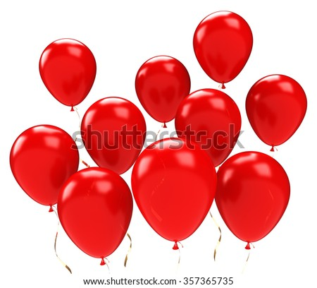 Group of red balloons. Isolated on white background - stock photo