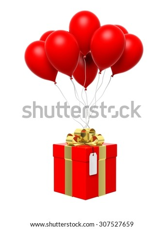 Group of red blank balloons with gift box attached isolated - stock photo