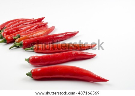 Group of red chili  isolated on white background as package design element