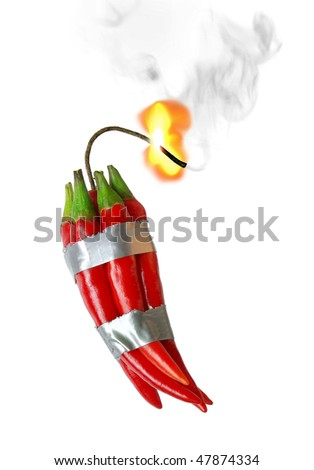 group of red chilli peppers with burning fuse taped like dynamite - stock photo