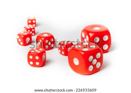 Group of red dices on isolated white background - stock photo