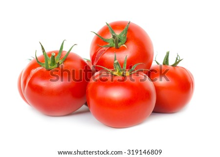 Group of red fresh ripe tomatoes isolated on white background - stock photo