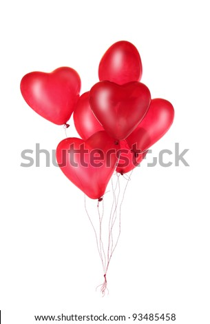 Group of red heart balloons isolated on white background - stock photo