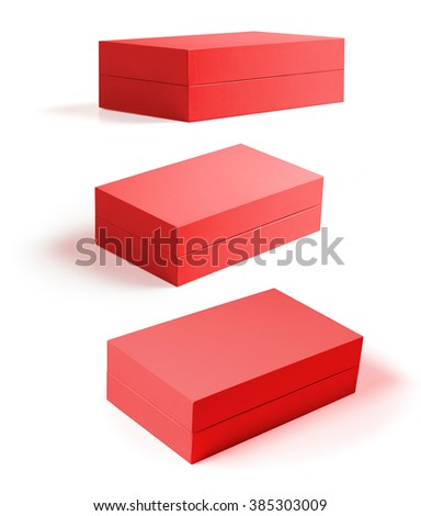 Group of red luxury red boxes isolated on white. Mockup or template ready for design
