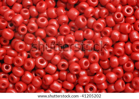 Group of red plastic beads - stock photo