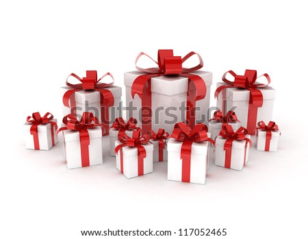 Group of red ribbon gift boxes - stock photo