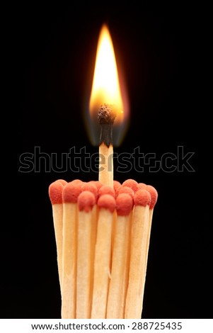Group of red wooden matches with burning match in the center, isolated on black background - stock photo