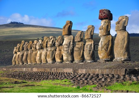 Group of 15 restored moai at Tongariki, Easter Island, in the afternoon sunshine