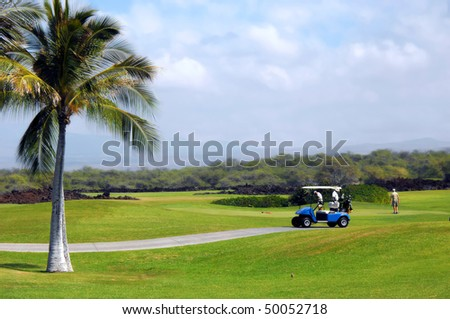 Group of retirees golf on the Big Island of Hawaii.  Palm trees, volcanoes and volcanic rock form backdrop for this scenic golf course - stock photo