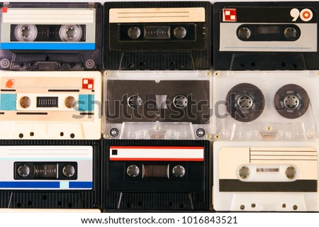 Group of retro audio cassettes