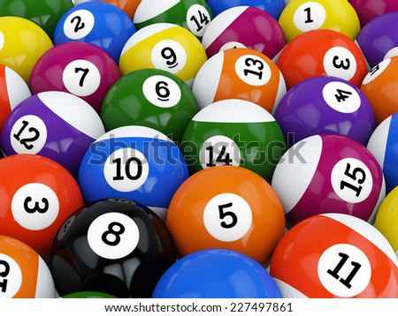 Group of retro colorful glossy pool game balls with numbers - stock photo