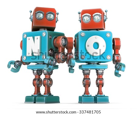 Group of Retro Robots with NO sign. Isolated over white. Contains clipping path - stock photo