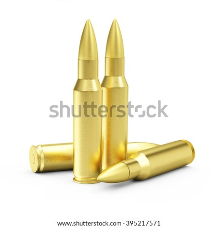 Group of Rifle Bullets isolated on white background. Military Weapons Concept.