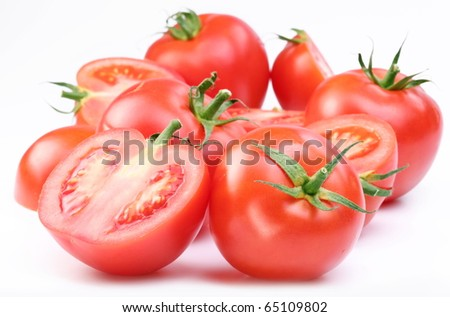 Group of ripe red tomatoes. - stock photo