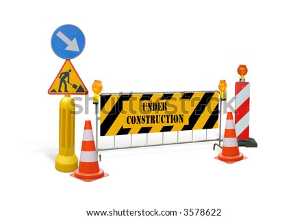 Group of road construction warning signs, barriers, guards with under construction text - isolated on white - stock photo