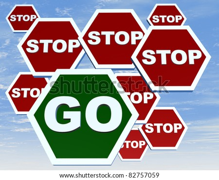 Group of road sign with stop and go - stock photo