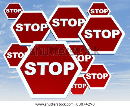 Group of road sign with stop word on red background - stock photo