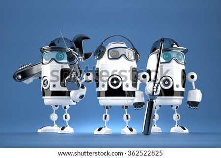 Group of robot mechanics. Technology concept. Contains clipping path. - stock photo