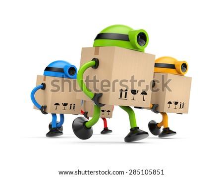 Group of robots postman - stock photo